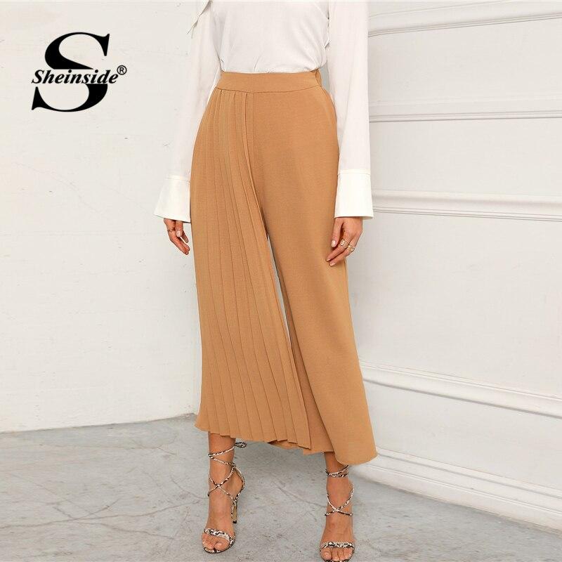 50e17e2e2ad2 Sheinside Khaki Elegant Pleated Panel Wide Leg Pants Women 2019 Spring  Elastic Waist Crop Trousers Ladies
