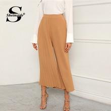 Sheinside Khaki Elegant Pleated Panel Wide Leg Pant