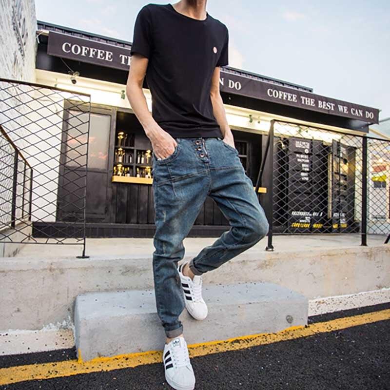 Japanese Retro Washed Old Jeans Pants Men Vintage Loose Hip Hop Harem Pants Large Size Skinny Feet Slim Trousers Men Clothes