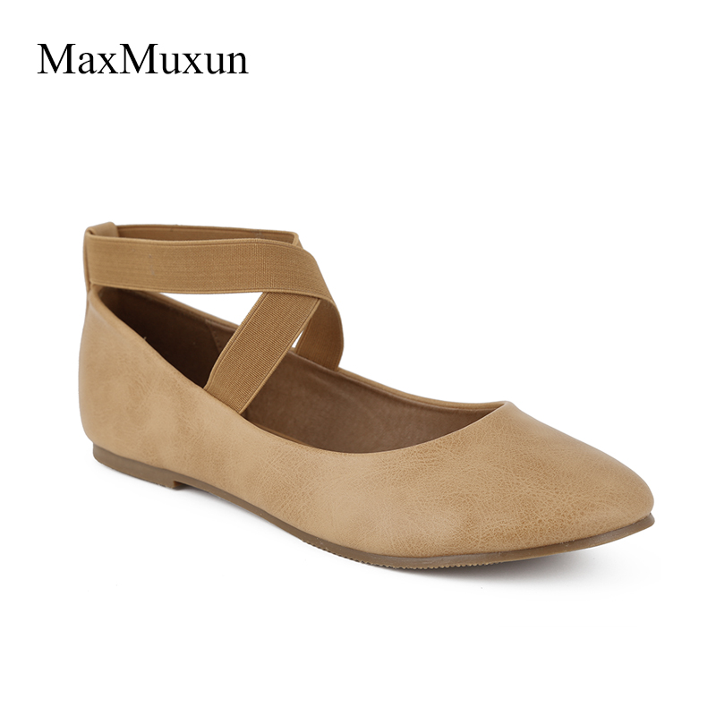 MaxMuxun Women s Black Ankle Strap Ballet Flats Shoes 2018 New Autumn  Ladies Slip On Round Toe Soft Ballerina Flats With Ribbon 51b562e1e8fe