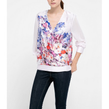 Nice Fashion Loose Blouses Floral Printed Patchwork Blouses Elegant OL Blusas Women Plus Size Blusas Shirts V-Neck Tops