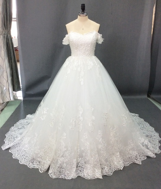 Vestido de Noiva 2018 Princess Wedding Dresses Off Shoulder Applique Lace Sweetheart Puffy Ball Gown Bridal Dress Robe De Mariee