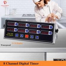 Sistema de alarma de 8 canales para cocina, temporizador Digital de cocina, carcasa de acero inoxidable, resistente al agua, para hamburguesas, panadería y Pizza