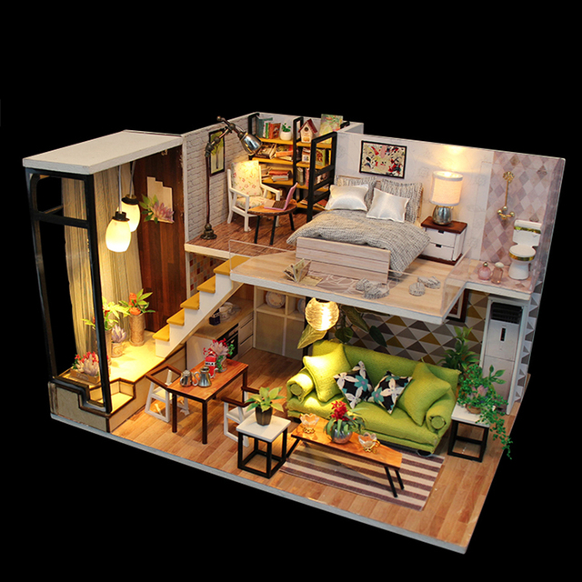 Doll House Miniature Furnitures Wooden DIY Casa Dollhouse Miniaturas Toys for Kids Birthday Room Decoration Gift