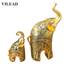 VILEAD 11.8 Resin Height Elephant Mother and Son Statue Model Animal Kids Figurines Miniatures Home Decor Accessories