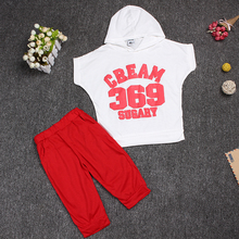 2pcs short-sleeve T-shirt hoodie + pant set