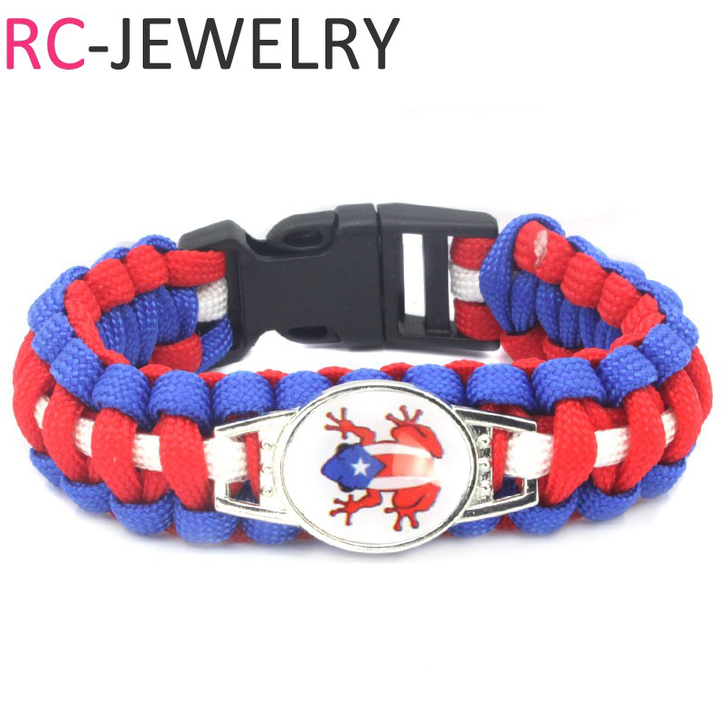 (10 PCS/lot) Fashion Puerto Rico frog flag style Survival Paracord Bracelet bangle Football soccer fans gifts