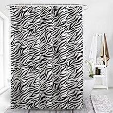 Modern Bathroom Waterproof Bath Curtain Fashion Zebra Pattern Shower Curtain Polyester Toilet Apart Hanging Curtain With Hook