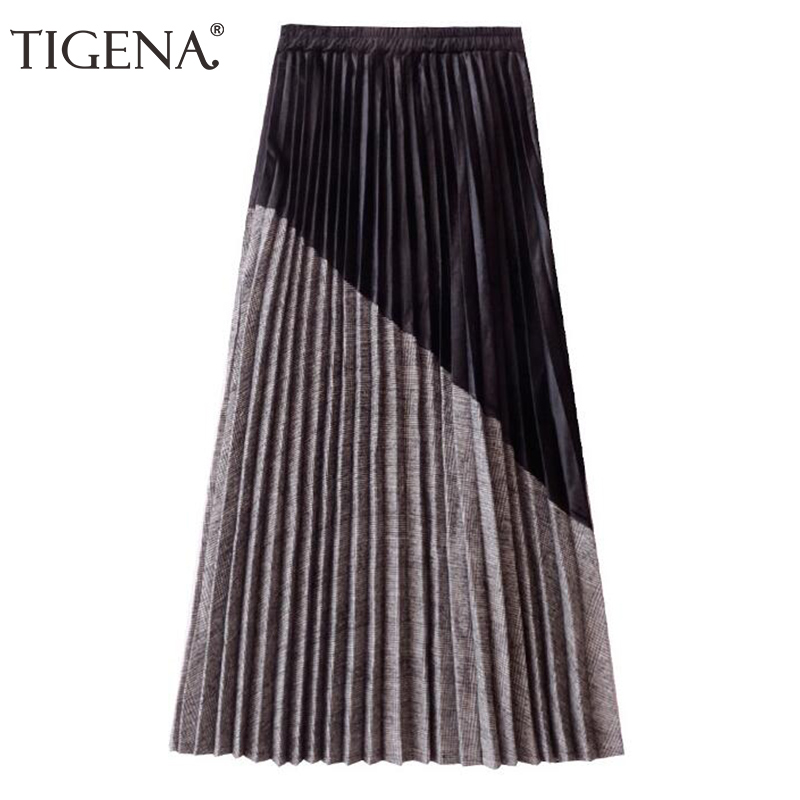 TIGENA New Arrivals Patchwork Suede Pleated Skirts Women 2019 Autumn Winter High Waist Vintage Plaid Long Maxi Skirt Female