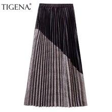 Tigena recém chegados retalhos camurça plissado saias femininas 2019 outono inverno cintura alta do vintage xadrez longo maxi saia feminina
