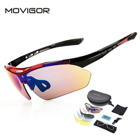 MOVIGOR 5 Lenses Of Polarized TR90 Cycling Glasses With Myopia Frame 6 Colors Bicycle Anti UV