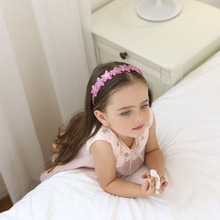 Korea Shinny Star Flower Crown Hair Band Gauze Accessories lovely  Headband for Girls Bow Princess