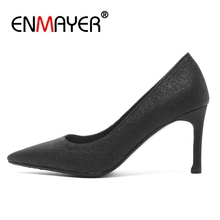 ENMAYER Rubber  Pointed Toe Casual Slip-On Shoes Woman High Heel Sapato Feminino Ladies Size 34-43 ZYL2672