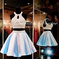 Sexy Halter Two Piece Homecoming Dresses 2017 Robe de Cocktail Party Dress Pearls Short 2 Pieces Prom Dresses Vestido de Curto