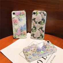 Laser glossy transparent luxury Vintage Floral Phone Case for iPhone 5 5s SE 6 6s 6 Plus 6s Plus 7 8 plus XR New iPhone case