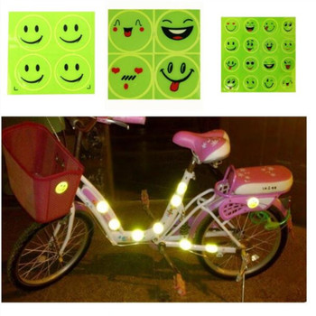 1 Sheet Funny Smiling Face Bicycle Bike Reflective Sticker Night Riding Safety Sticker Decoration Bicycle Access 1