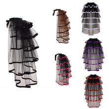 Burlesque Bustle Tulle Skirt Black Steampunk Mesh Tiered Ruffle Party Tutu Tail Cover-up Over-skirt цены онлайн