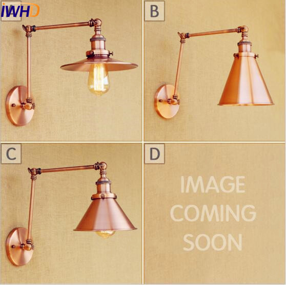 IWHD Loft Style Retro Vintage Wall Light Wandlampen Swing Long Arm Wall Lamp Industrial Sconce Stair Lighting Applique LED top grade wood handcrafted swing arm light sconce led wall lamp nordic style home decoration lighting e27 black with switch