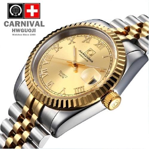 Carnival Male Watches Rhinestone Mens Luxury Brand Quartz Gold Waterproof Luminous Jewelry