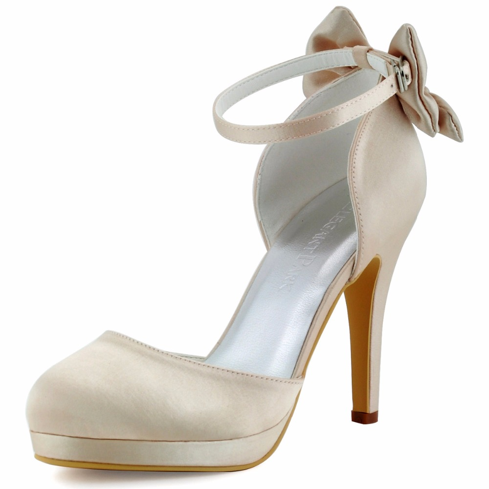 AJ091-PF Women Shoes White Ivory Bridal Party High Heel Platform Pumps Bow Ankle Strap Buckles Satin Bride Dress Wedding Shoes
