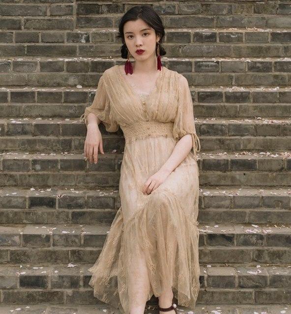 Fransız Vintage viktorya dönemi tarzı elbise Zarif Yarım Kollu Düğme V Yaka Uzun Yaz Bayan Elbise Parti Vestidos De Festa