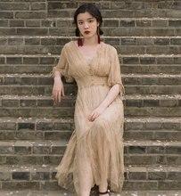 Pháp Vintage Victoria Đầm Thanh Lịch Nửa Đính Nút Cổ V Dài Mùa Hè Áo Nữ Đảng Vestidos De Festa