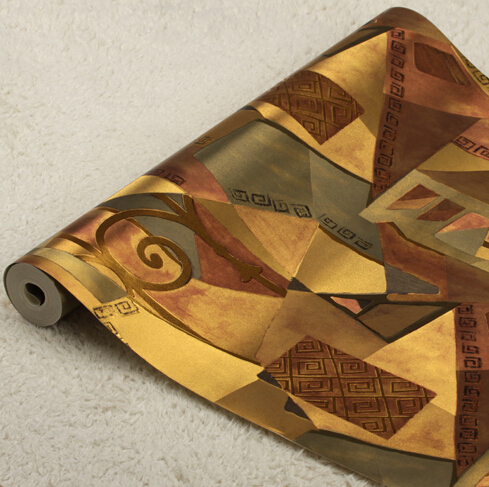 Modern Luxury Antique Gold Wallpaper 3D Embossed PVC Waterproof Wallpaper Roll Living Room Bedroom TV Wallpaper
