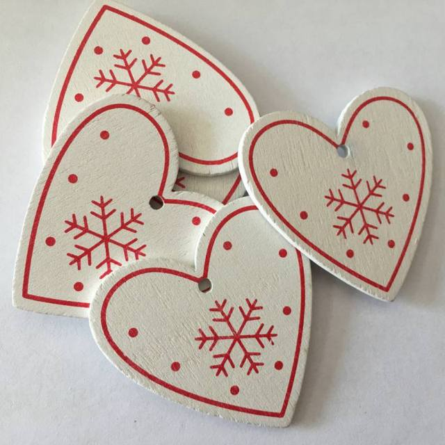 10pcs/set White Red Christmas Tree Ornament Wooden Hanging Pendants Angel Snow Bell Elk Star Christmas Decorations for Home 3