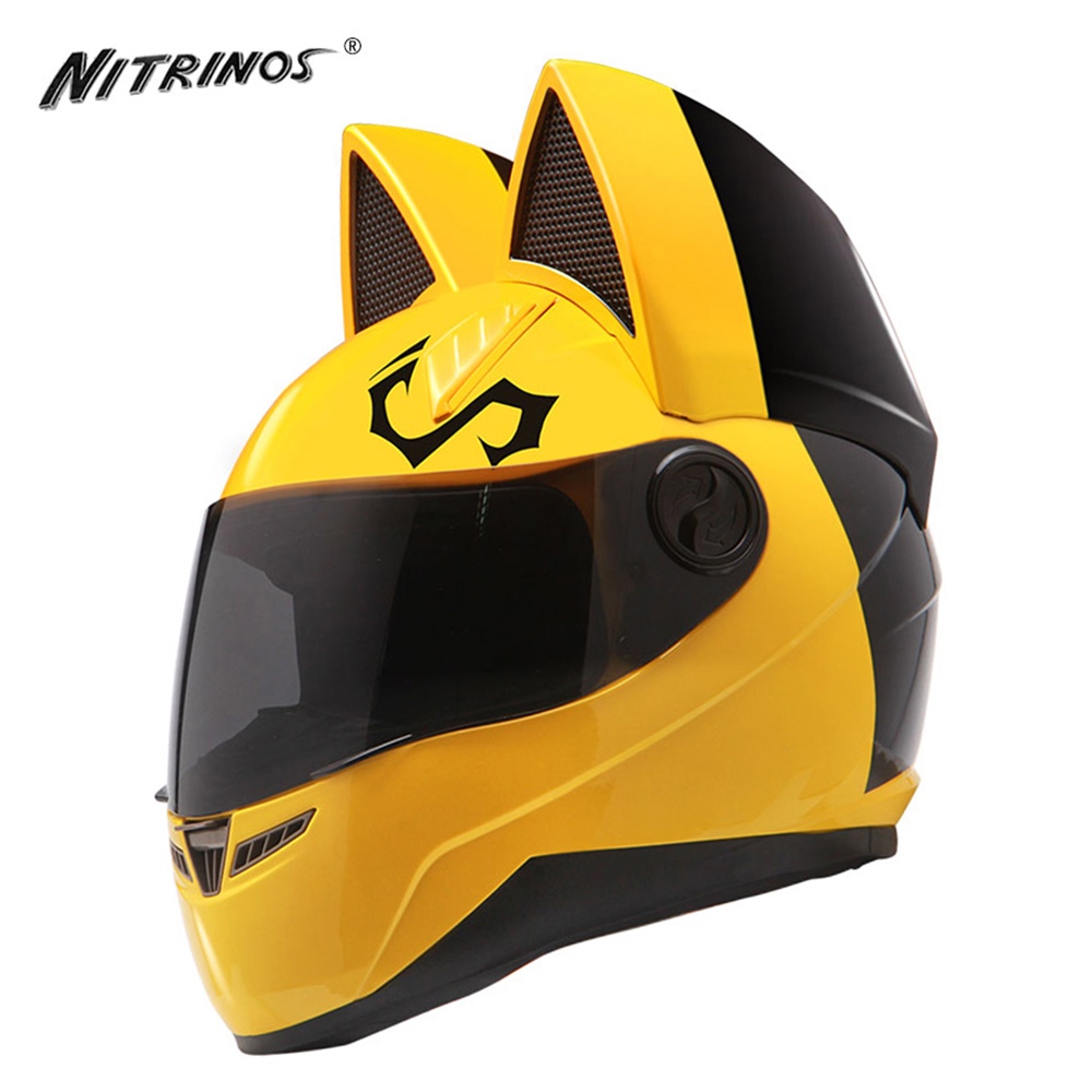 NITRINOS Special Motorcycle Helmet Women Cat Helmet Casque Moto Casco Cat Horns Moto Helmet Racing Motorbike