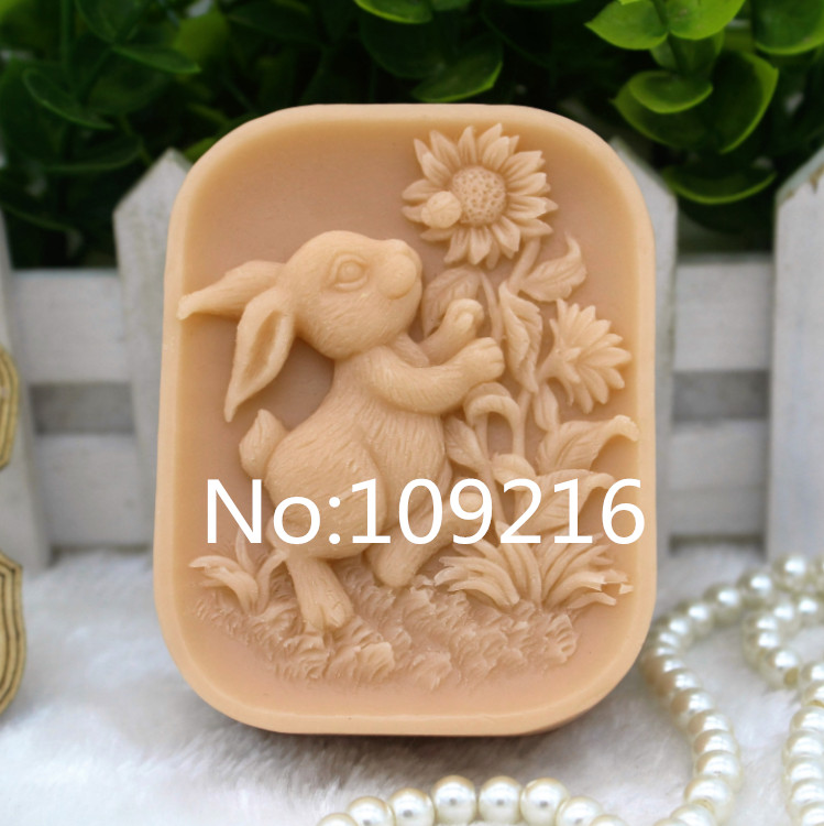 New Product!!1pcs Rabbit With Sunflower (zx308) Silicone Handmade Soap Mold Crafts DIY Mould