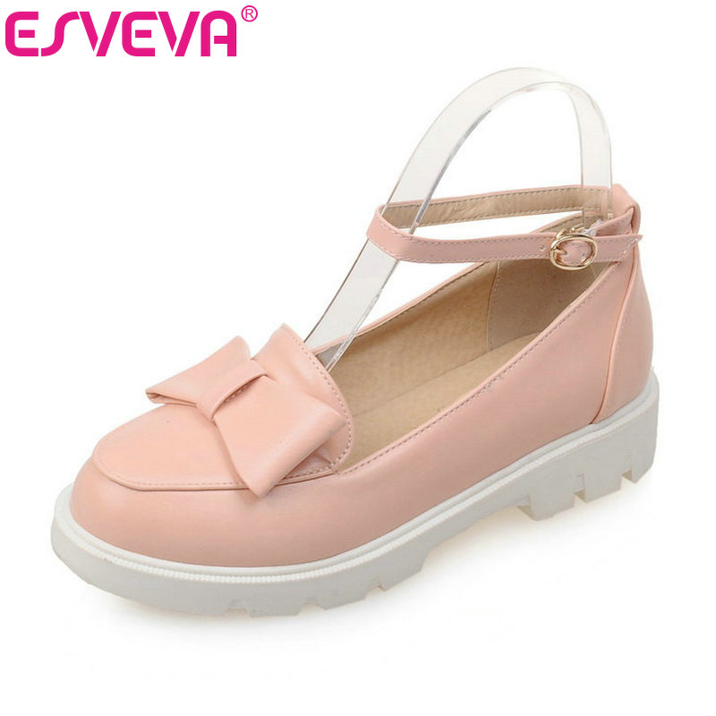 ESVEVA Candy Color Ankle Strap Bow Tie Pu Soft Leather Round Toe Women Pumps Spring/Autumn Lady Party Shoes Size 34-43 Pink esveva bow tie wedges high heels women pumps pu soft leather ankle strap platform round toe spring autumn lady party shoes blue