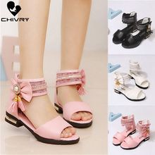 Chivry New 2019 Summer Girls Sandals Fashion Bowknot Zip Back Princess Shoes Children Kids High Heel Party