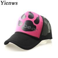 Yienws Hello Cartoon Bear Baseball Cap For Woman Mesh Baseball Full Cap Summer Hats For Women YH227