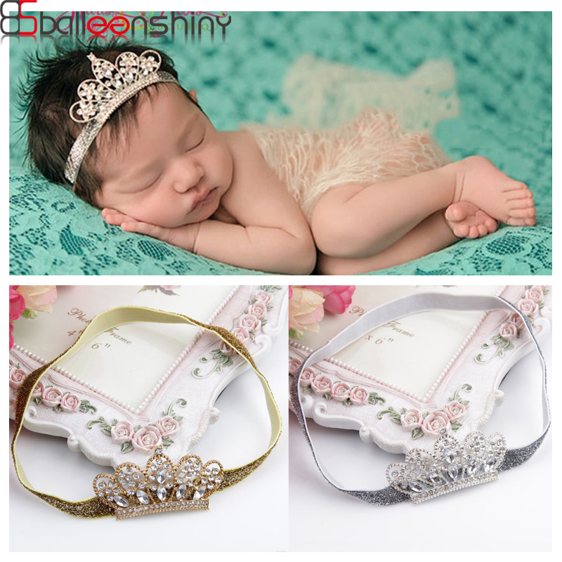 BalleenShiny Newborn Baby Crown Head Band Crystal Crown Strech Hair Band For Boys Girls Headwear Accessorise Photograph Props