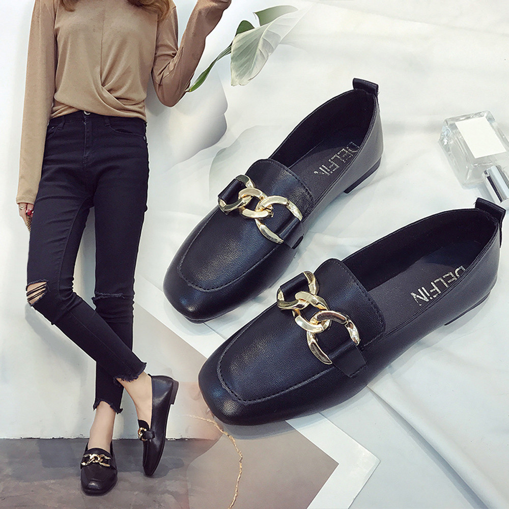 все цены на Women Retro Flat Heel Shallow Mouth Solid Color Casual Shoes Flat Shoes Chaussures Femme Luxury Brand Sapato Feminino