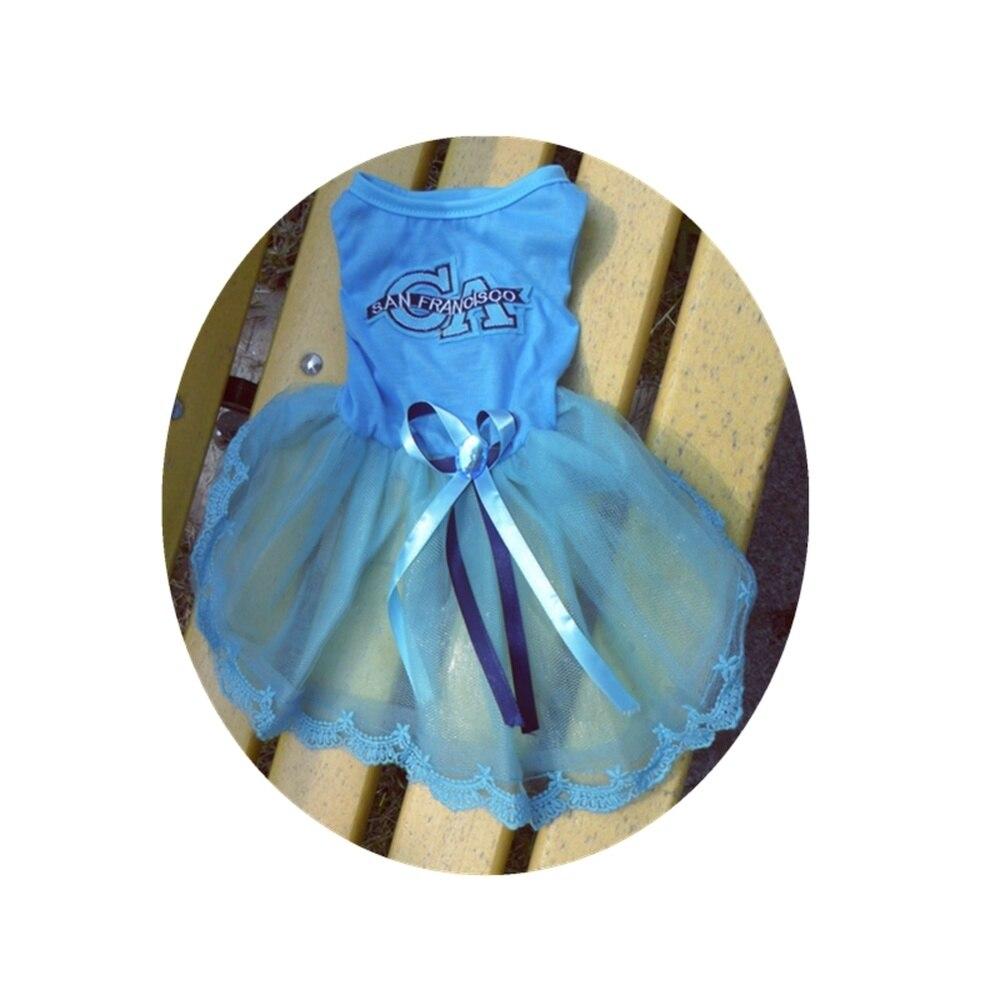 Blue Dog Dress Pink Party Tutu Harness Formal Medium Large XL XXL Rhinestones Stone Decor Home Lace Pet Puppy Dress for Girls