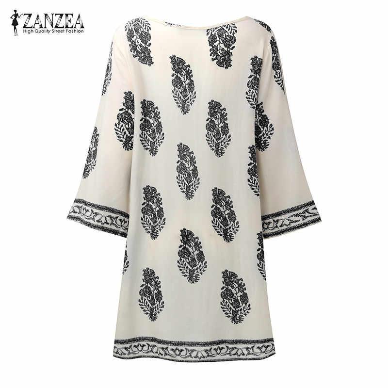 ZANZEA 2020 Womens Floral Print 3/4 슬리브 레트로 레이스 업 V 넥 술 루스 캐주얼 비치 파티 쇼트 미니 드레스 플러스 사이즈