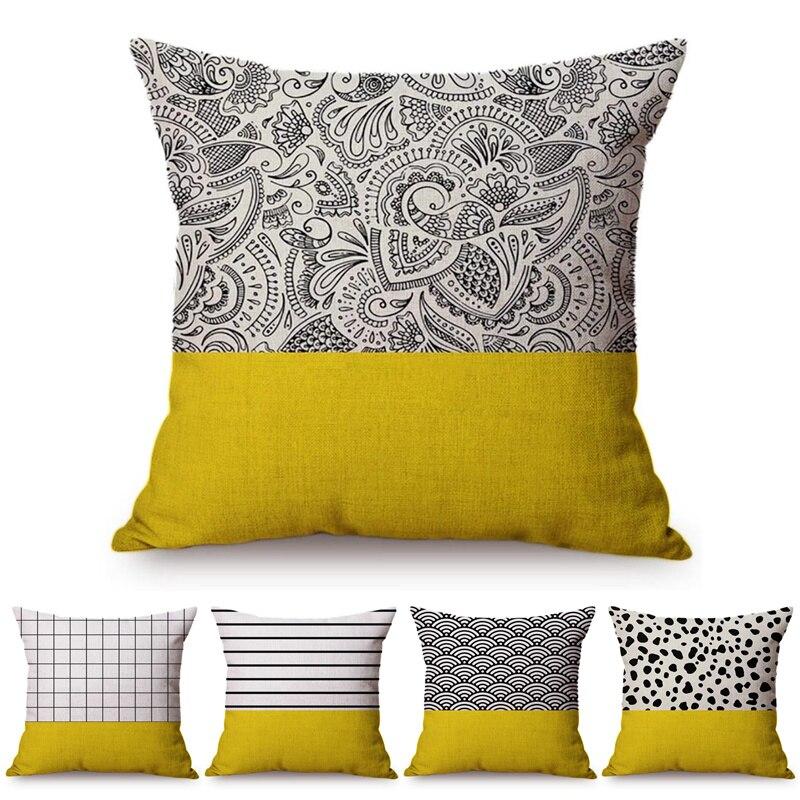 2018 Promotion Rushed Bohemian Cushion Cover Paisley Pillowcase Geometric Sofa Home Decorative Throw Pillow Cover Yellow Black