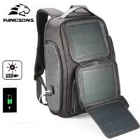 Kingsons Upgraded Solar Backpack Fast USB Charging Kanpsack 15.6 inches Laptop Backpacks Male Women Travel Bag Cool Mochila
