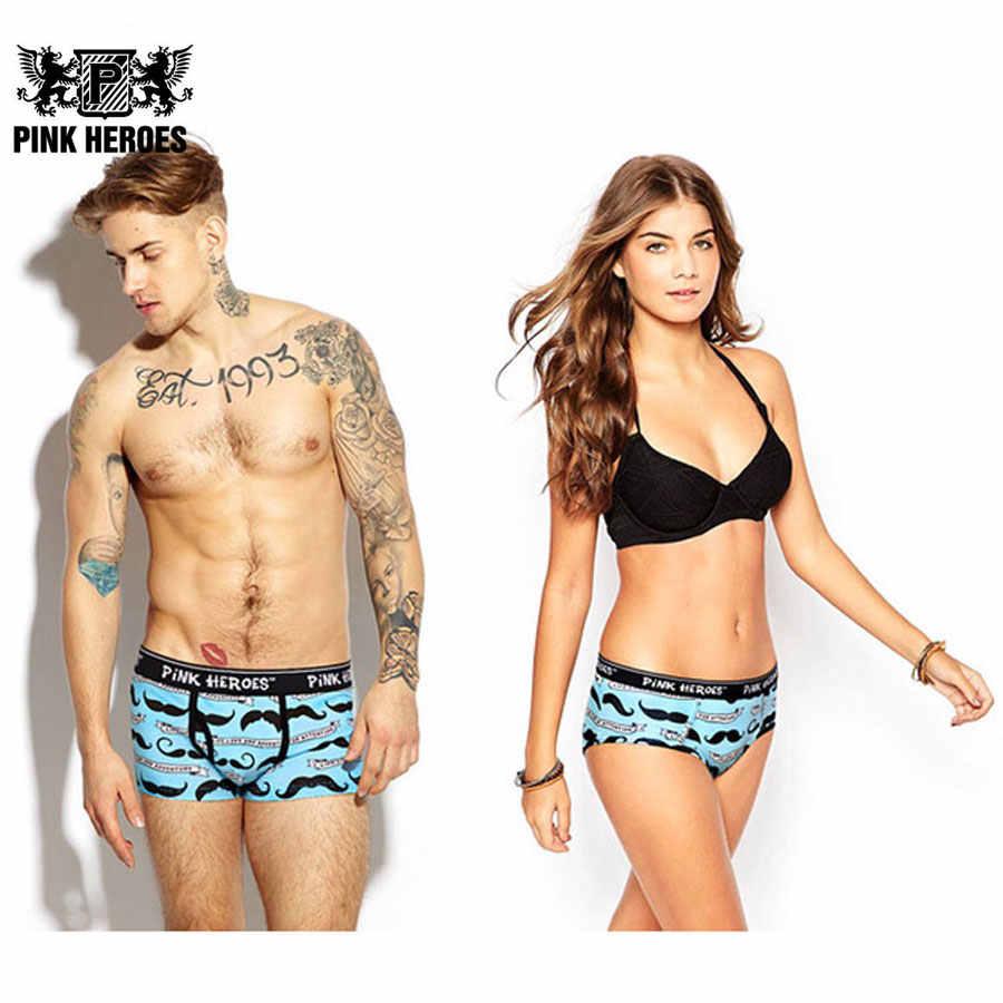 Высокое качество пара Нижнее бельё анти исчезают ролик печатных Для мужчин  боксеры Для Женщин Трусики Мода f8ccdd4b402
