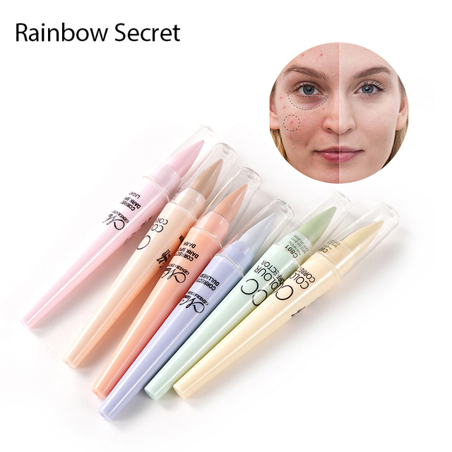 Arco Iris secreto 6 colores/caja cara maquillaje CC Color Corrector mancha Corrector crema Base de paleta de lápiz de palo de