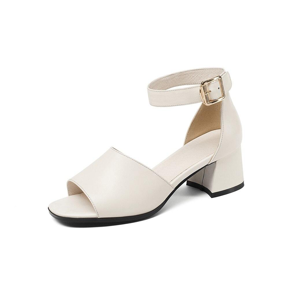 ASUMER 2020 mode été femmes sandales talons hauts chaussures top qualité véritable lesther offre spéciale chaussures chaussures élégantes femme-in Sandales femme from Chaussures    2