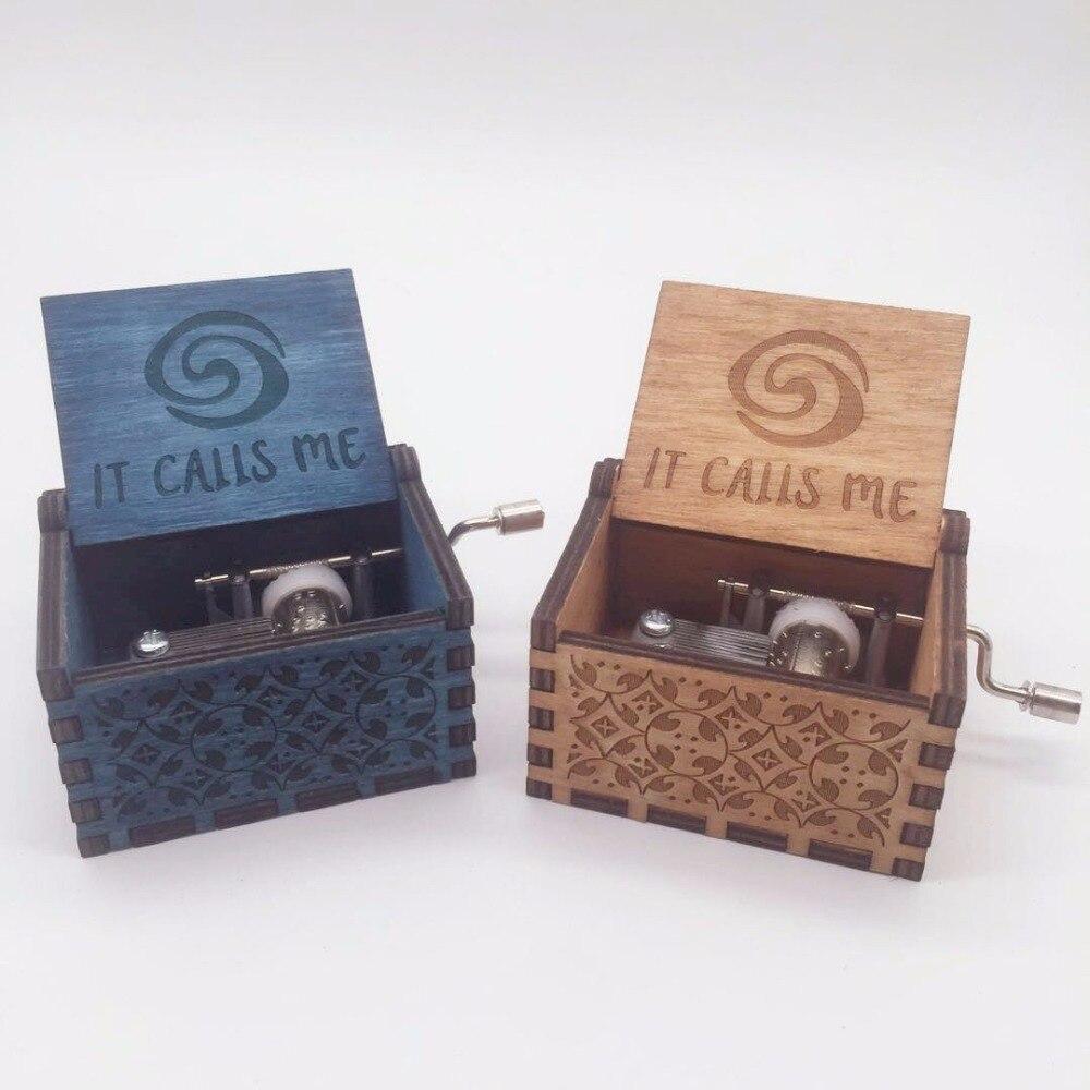 Moana Theme Music Box IT CALLS ME Wooden Hand Crank Hand-Crafted Island Princess Birch ...