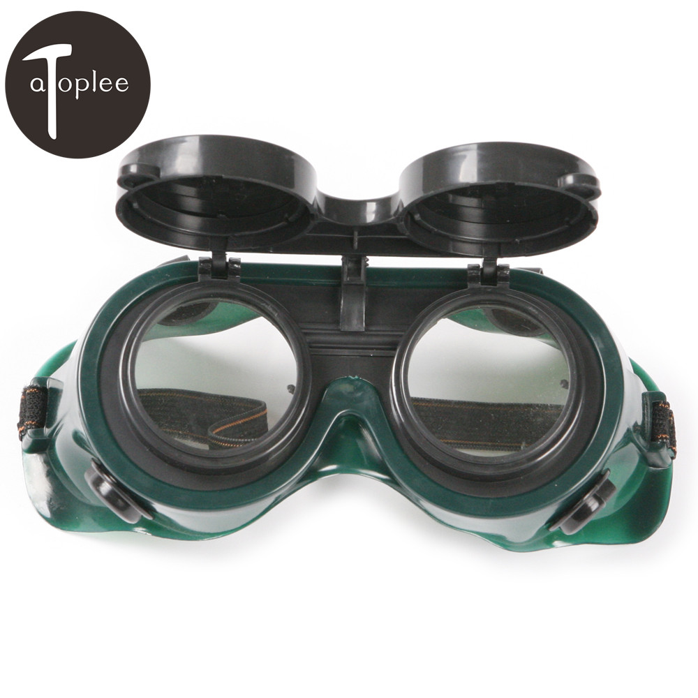 1Pcs Goggles 2 Dark Green Round Flip Up Lenses Welding Goggles PVC Helmet Welder Glasses Safety Protective Eyewear safety pvc special forces helmet random color