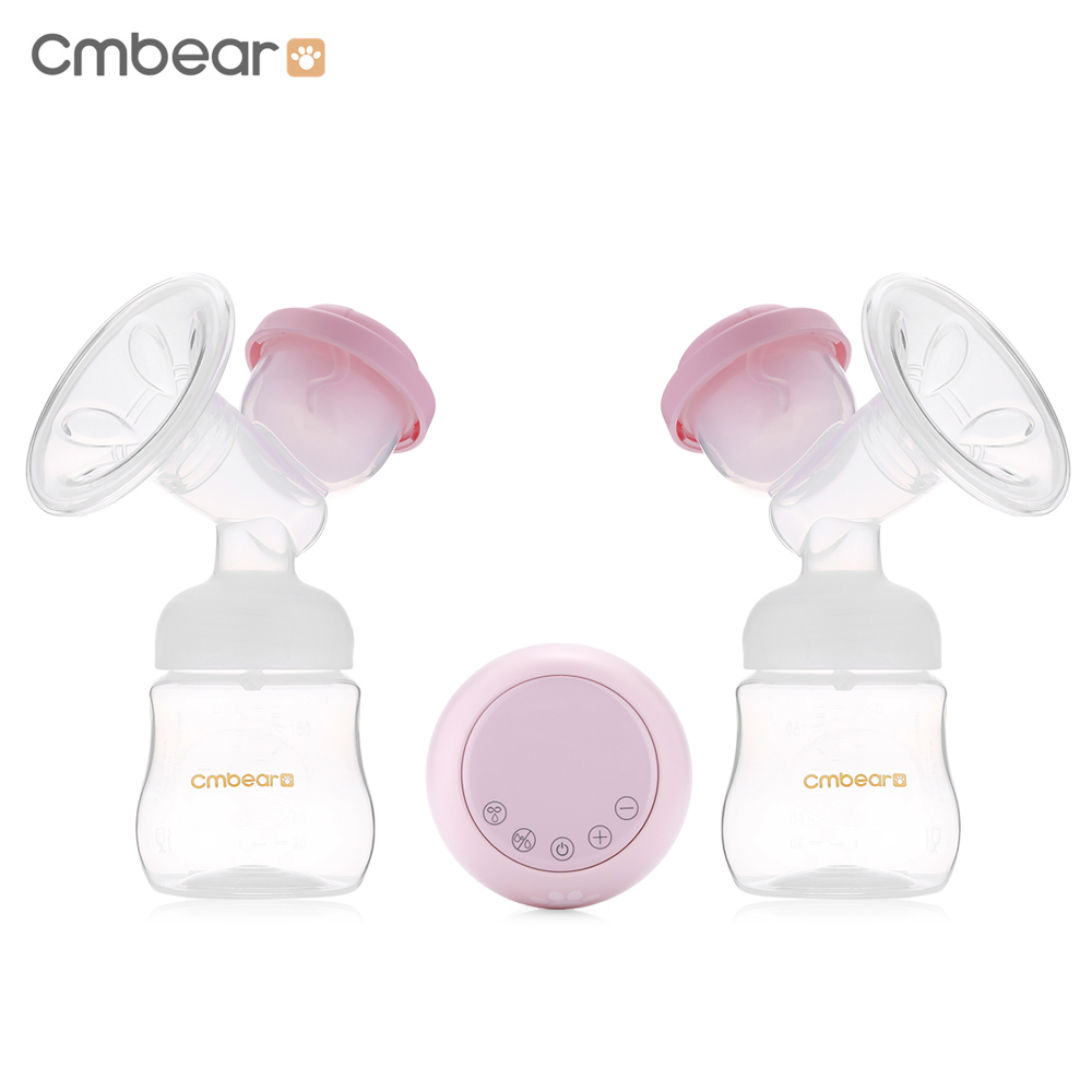 Cmbear Double USB Electric Breast Pump With Milk Bottle Baby Breastfeeding Convenient PP BPA Free Bottle Powerful Breast Pumps