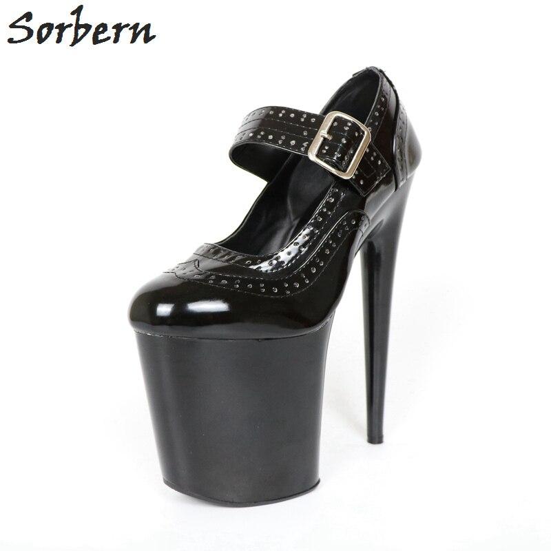 Chaussures Talon Mode 2018 Mary Femme Cm Pompes Extrême Dames 10 Rond Piste De Bout Cm 20 Black Janes Talons Sexy clair Haute Sorbern IPqZdxax