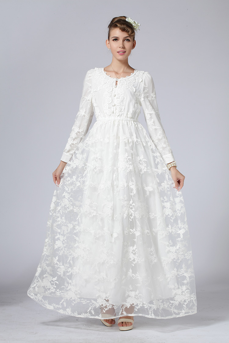 2017 Spring French Lace embroidery Retro wedding party long dress ...