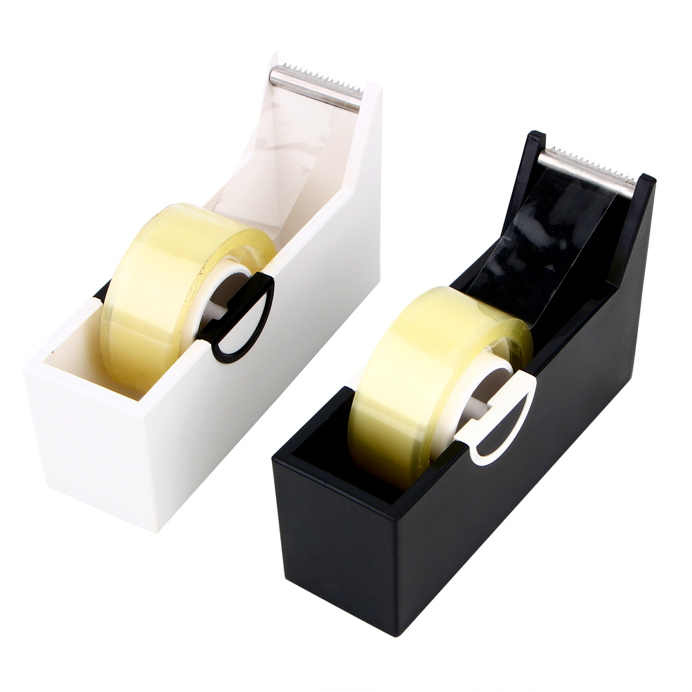 Creative Square Plastic Seat Tape Holder Office Dispenser Desktop With Cutter Packaging Tape Machine Supplies