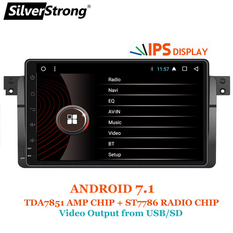 SilverStrong 1024*600 9'' Android7.1 Quad Core 1Din Car DVD for BMW E46 318 325 320 Car gps DAB M3 3series with Navi Radio seicane 8 core android 8 0 9 1din car radio gps navi for bmw 3 series e46 m3 316i 318i 320i 323i 325i with wifi bluetooth 32g