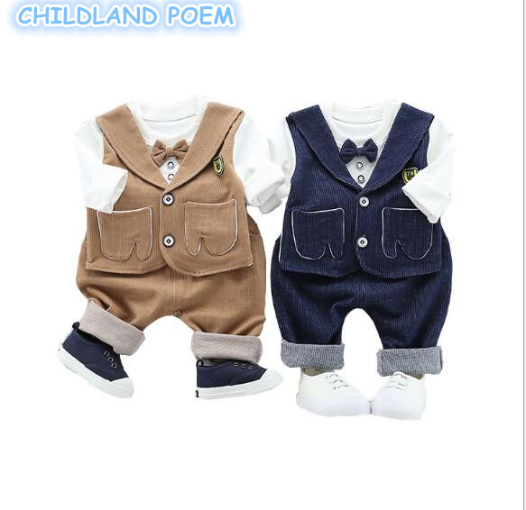 Baby Boy Gentleman Suits 2Pcs Spring Newborn Boys Clothing Set Faux 2pcs T shirt + Pant Long Sleeve Baby Outfits For Boys
